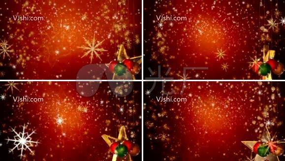 圣诞节背景 彩球 雪花