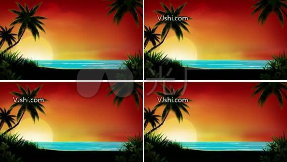 夏威夷 海边 椰树 海滩
