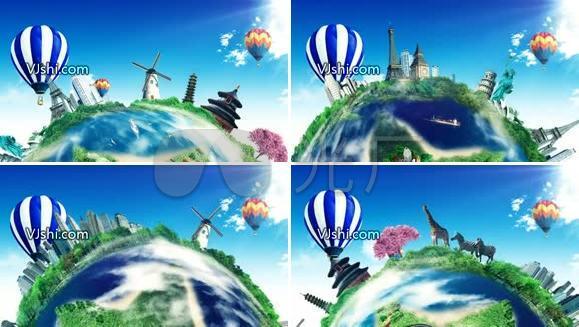 地球  热气球 转动 蓝天