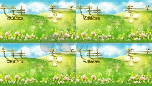 风景类动画 绵羊 花 卡通 儿童 可爱