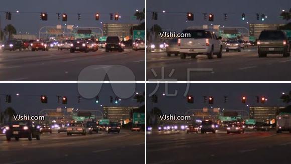 城市 车流 繁华 街道 红绿灯