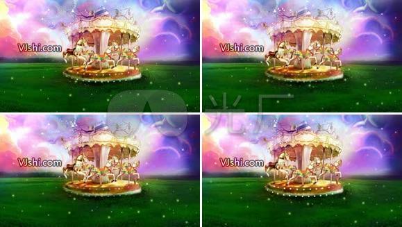 旋转木马动画 唯美 儿童节 卡通背景