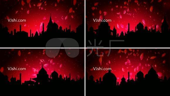红色花瓣民族风建筑素材