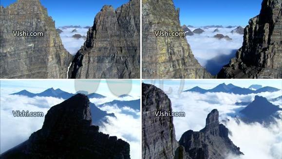 壮观 大自然之航拍陡峭山崖云海