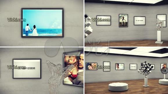 艺术画廊展示动画AE模板