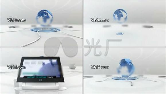 企业蓝色地球科技片头AE模板