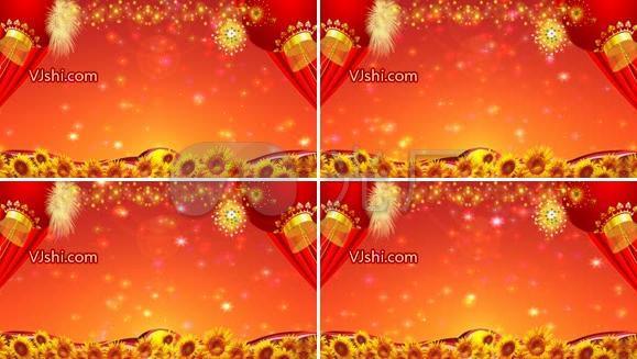 喜庆丰收季节大红灯笼向日葵LED视频