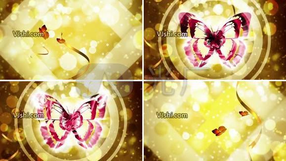 金色底节奏蝴蝶