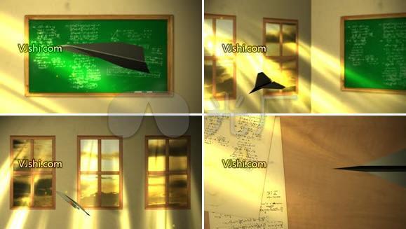纸飞机课堂动画AE模板