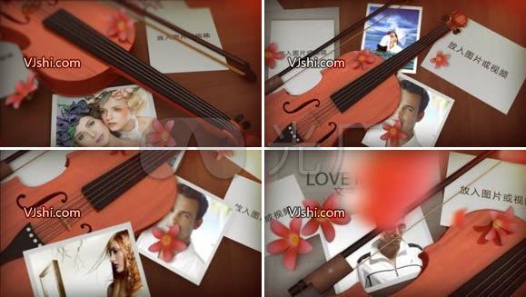 优雅的小提琴主题图片展示AE模板
