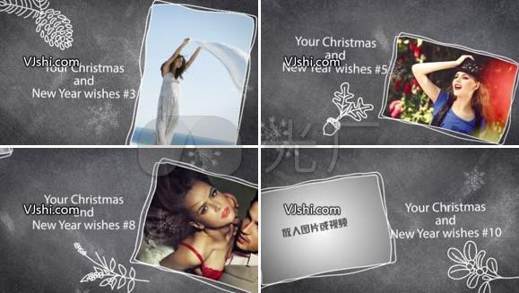 圣诞节新年家庭相片展示AE模板