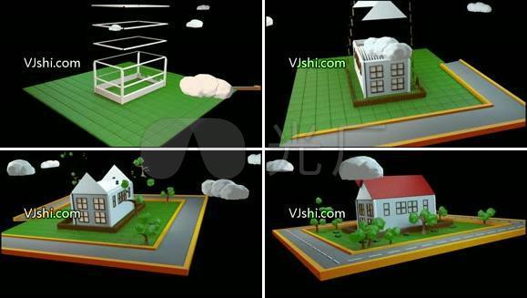 动态房屋绿树视频素材  带通道