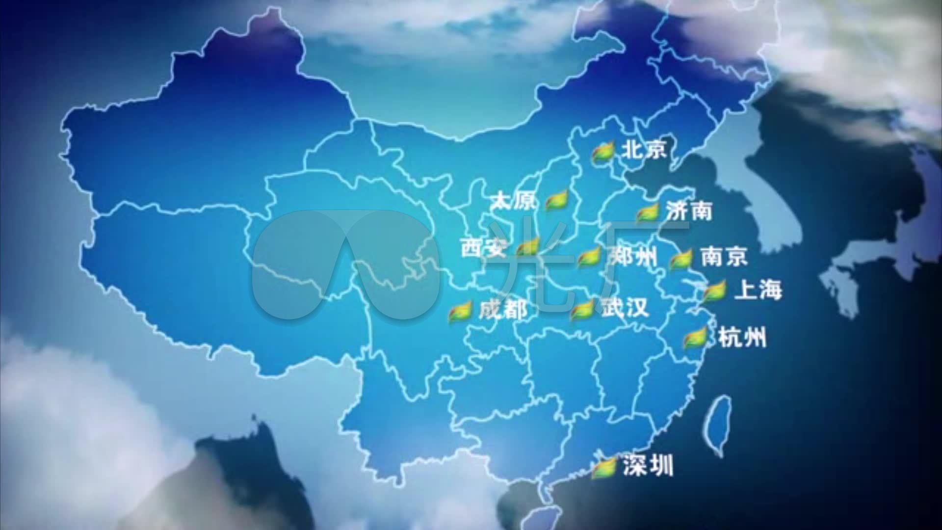 地球放大中国地图城市_1920X1080_高清视频