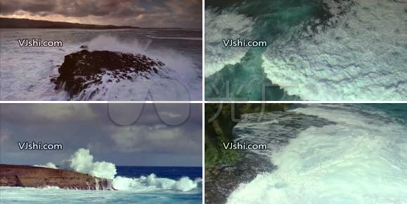 航拍气势磅礴的海浪视频素材