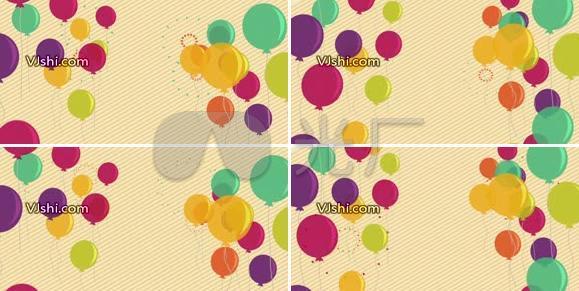 卡通彩色气球飘动LED动态视频素材