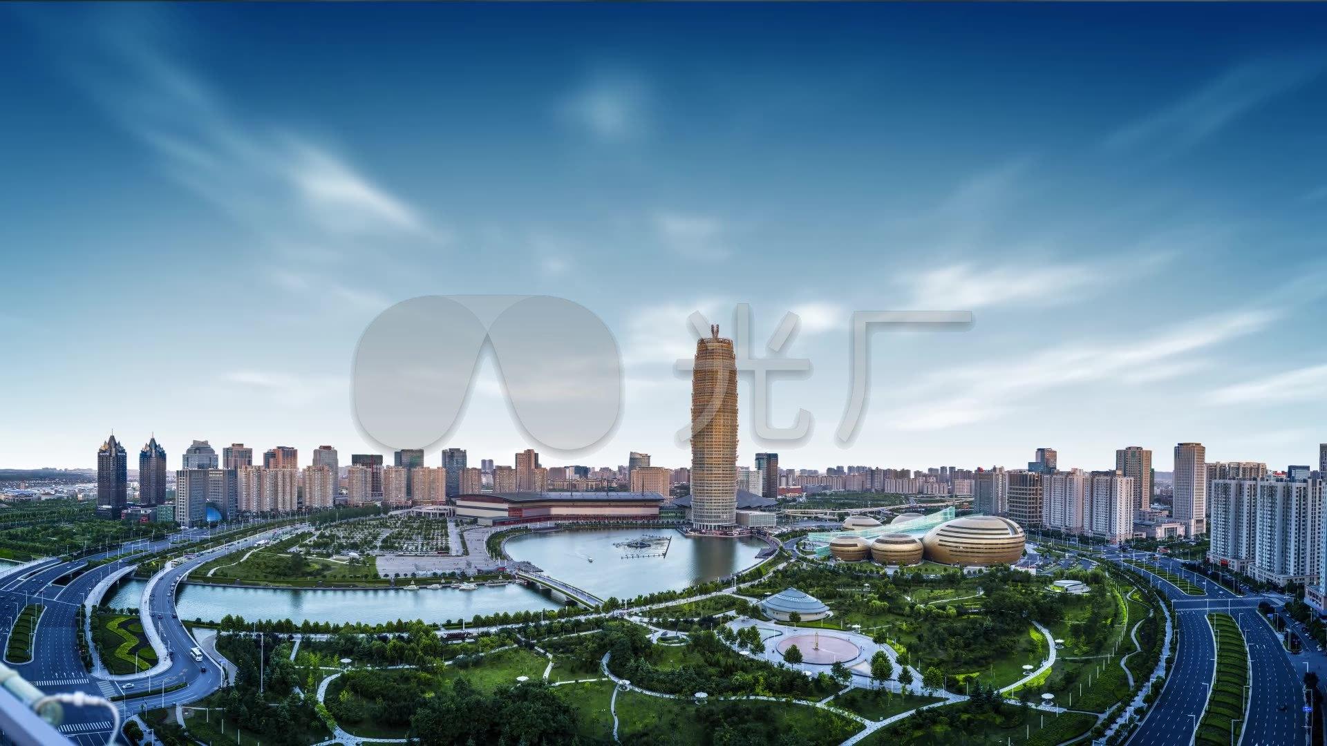 郑州玉米楼高清图片_郑州cbd会展中心夜景