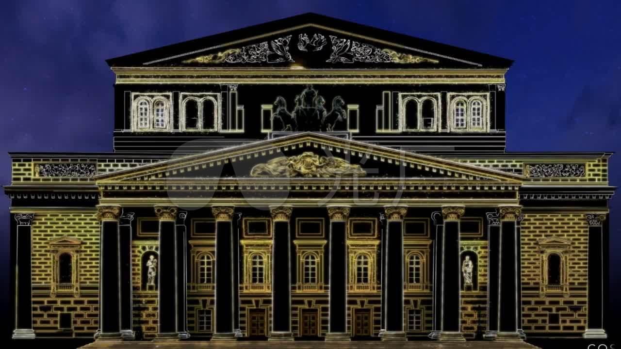 震撼3d全息欧式城堡建筑投影_1280x720_高清视频素材