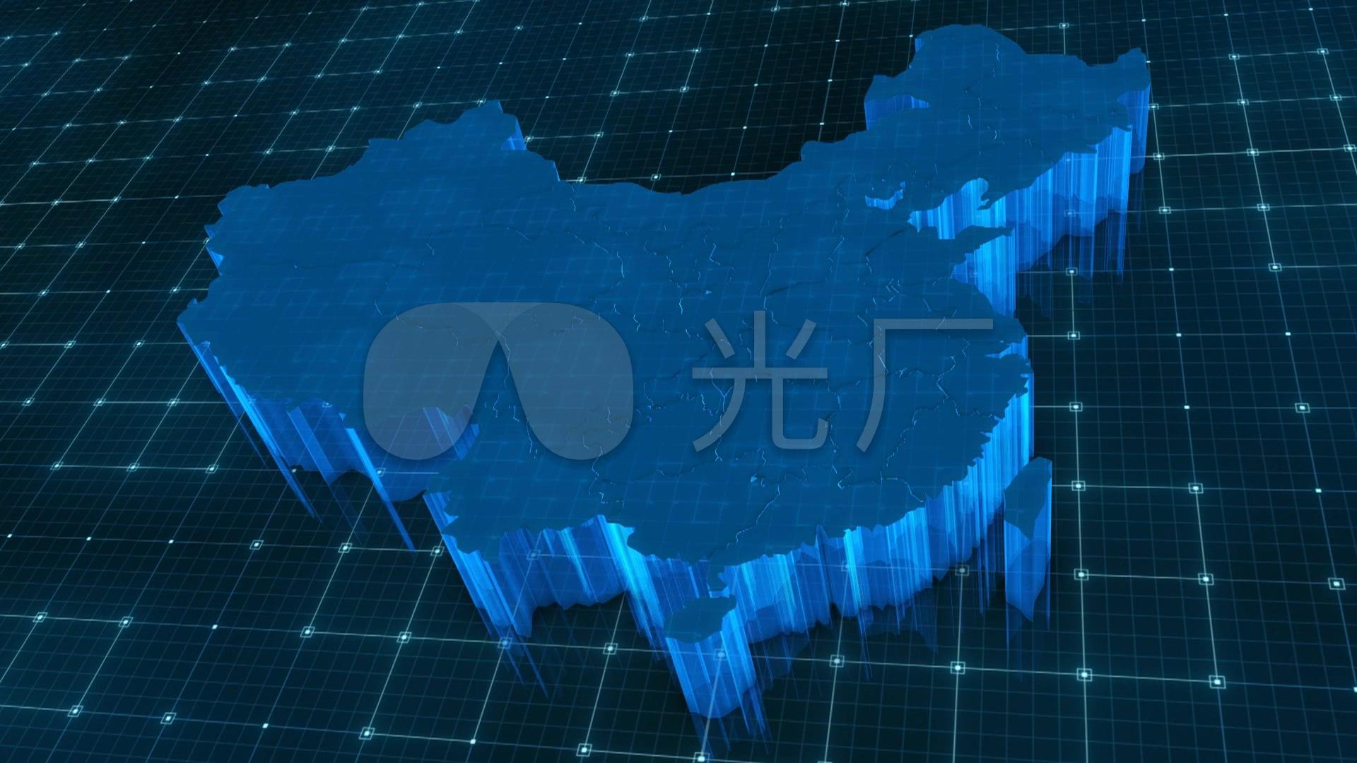 中国地图省份合并动画视频素材_1920X1080_