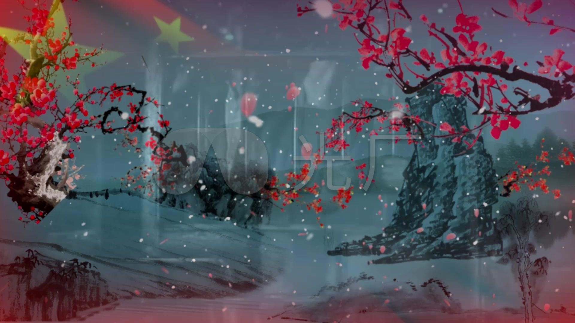 红梅赞绣红旗v视频_1920X1080_视频高清素材视频左右库倒图片