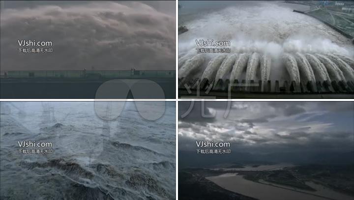 长江三峡大坝泄洪水利工程发电站建设_1920X路引制作视频图片