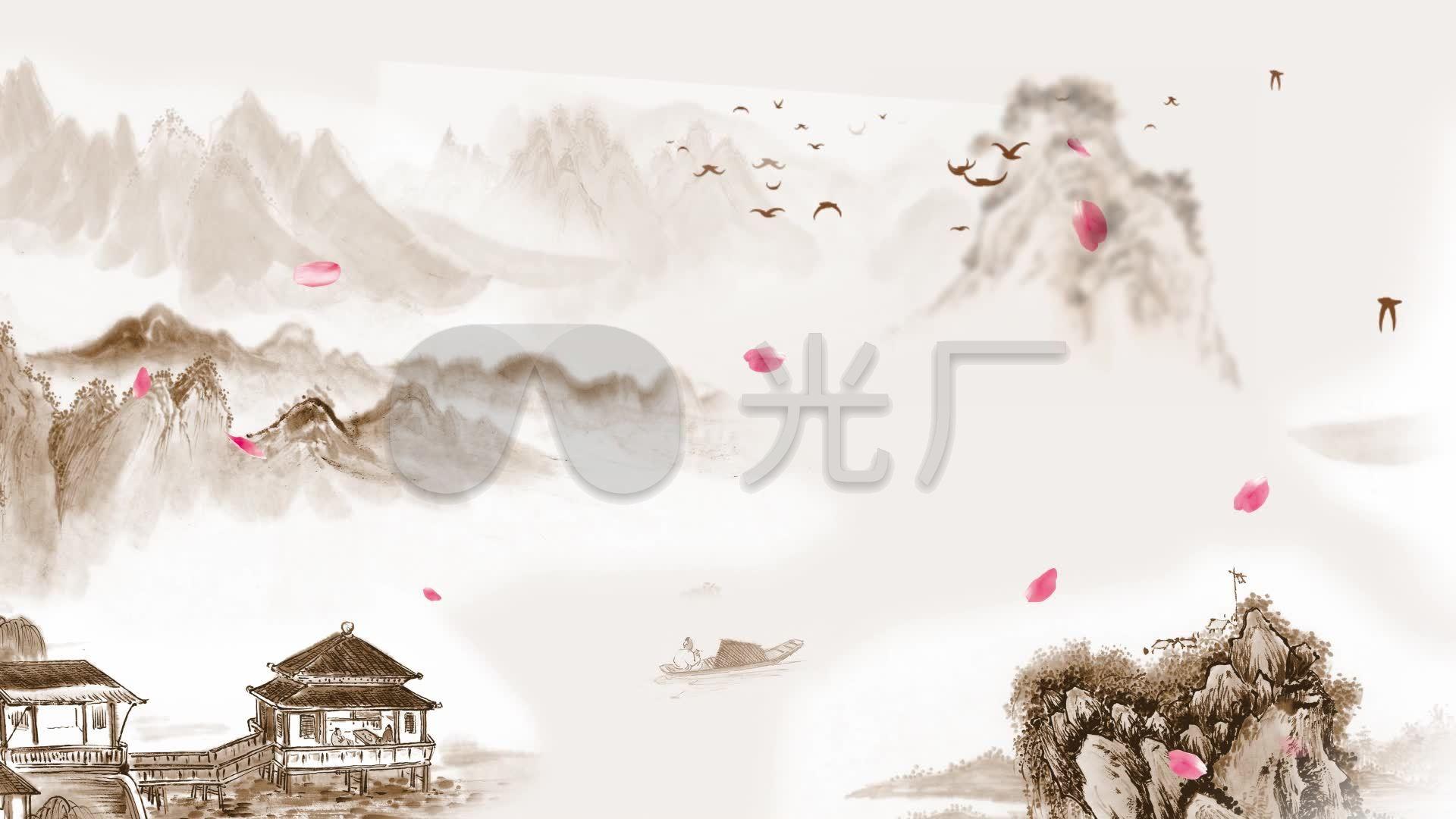 中国风视频山水画花瓣飘落视频素材_1920X1建中时水墨图片