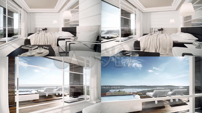 三维室内海边卧室别墅小泳池170装修平三层联排别墅效果图图片