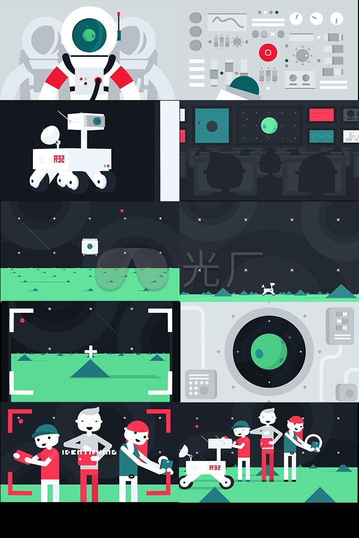 极品航天mg动画视频素材航空仓驾驶室月球星球表面飞船航天飞机登陆