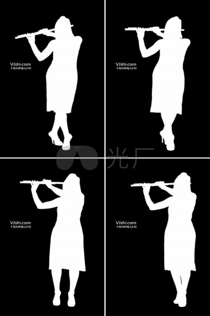 素材剪影:笛子演奏_230X384_教案动画名师下幼儿园视频v素材a素材高清图片