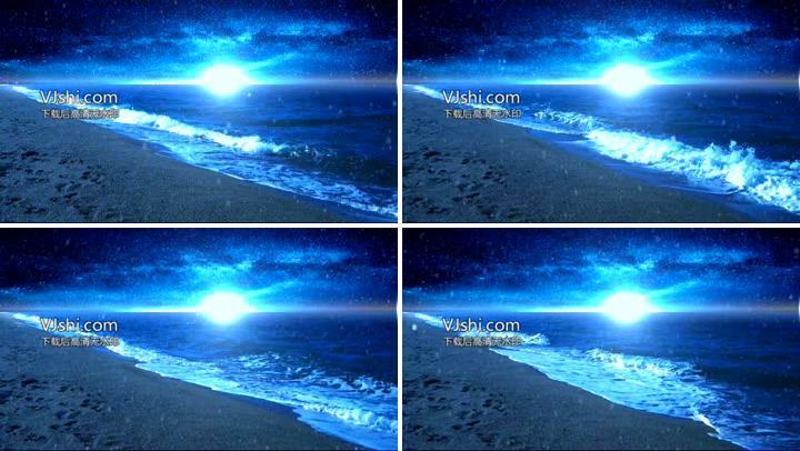 大海,海滩,波浪,浪花,月光,月夜,雪花