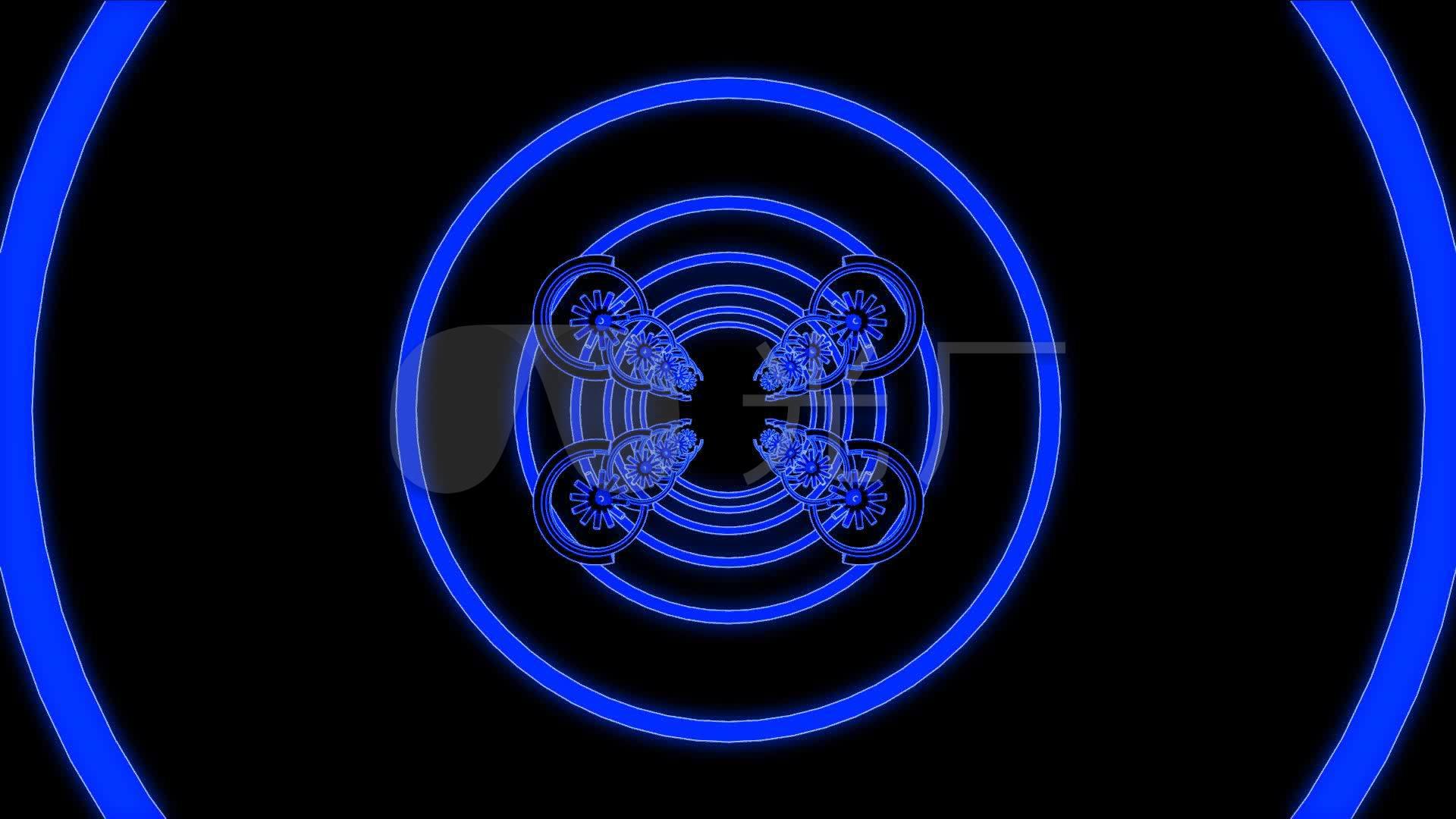 3d蓝色圆圈放射节奏穿梭酒吧素材