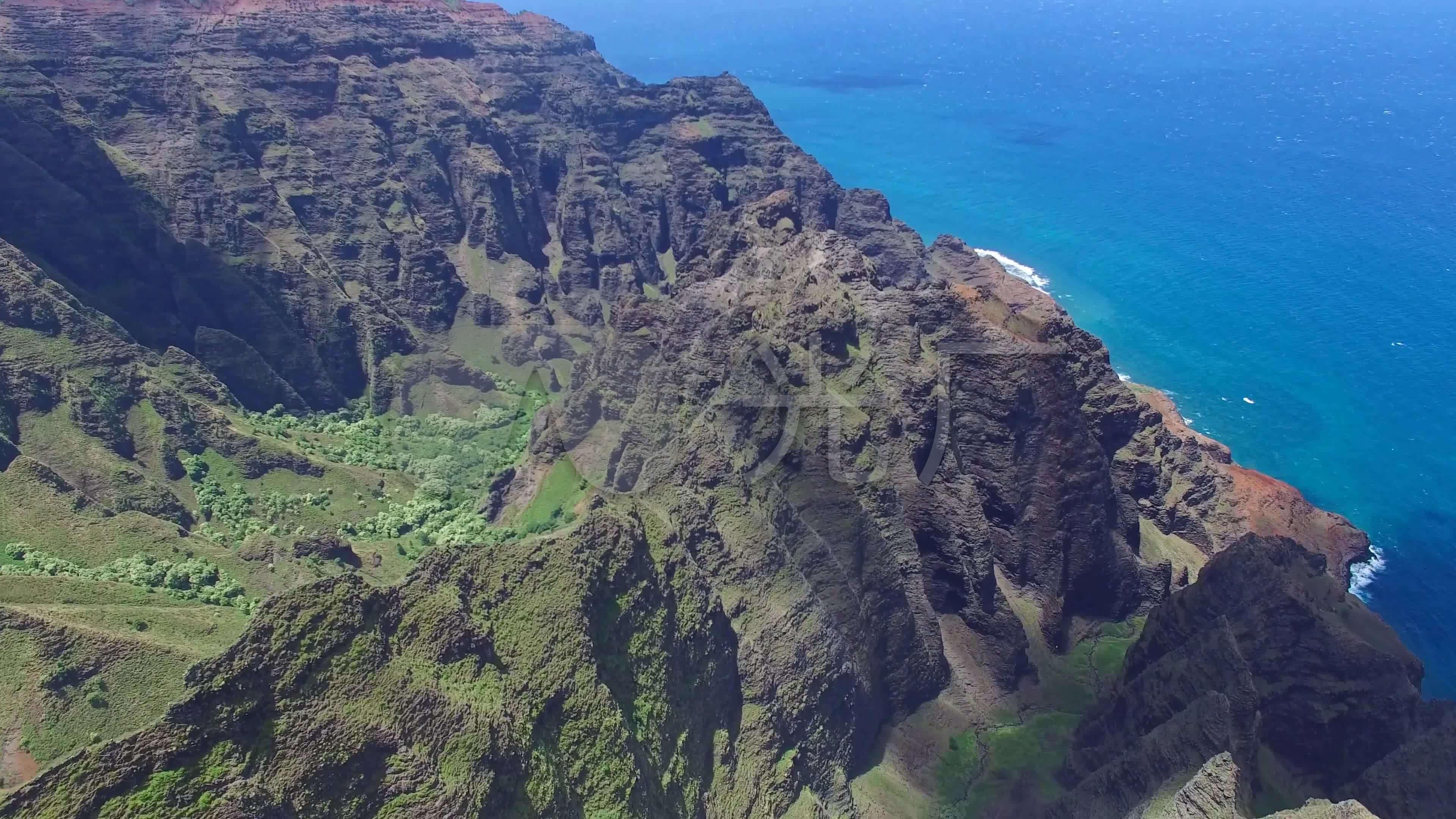 航拍美国夏威夷考艾岛岛屿山林海岸6000