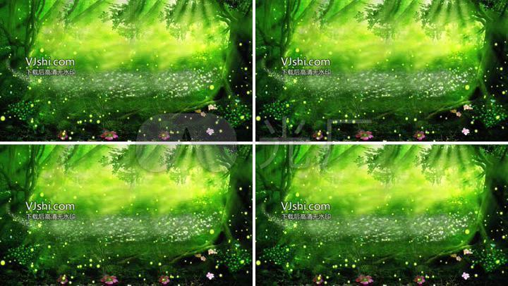 led森林晚会童话森林森系背景森系视频森系婚礼萤火虫荧光花草童话图片