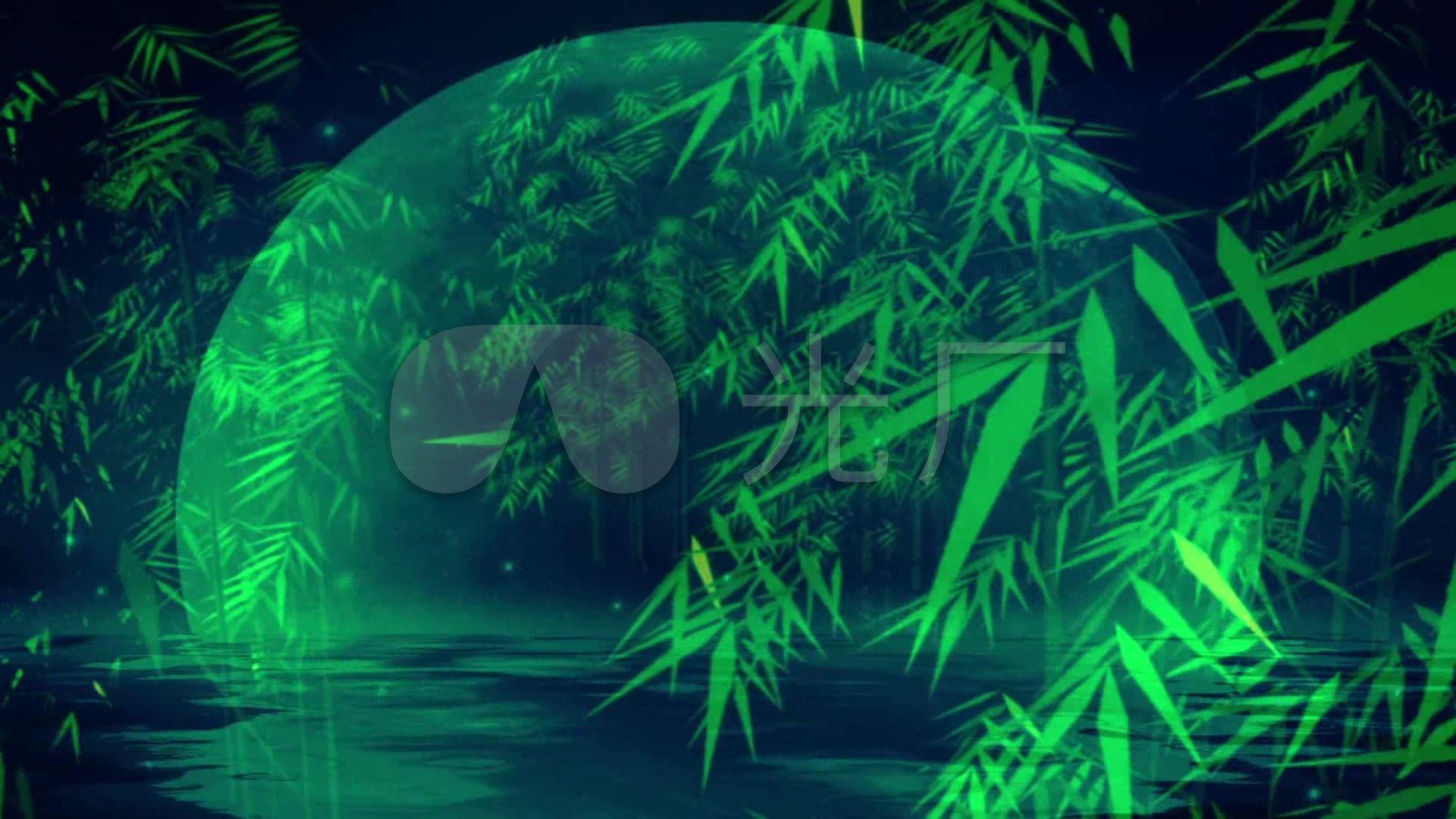 傣族民族舞蹈竹林月光下的凤尾竹圆月亮竹子