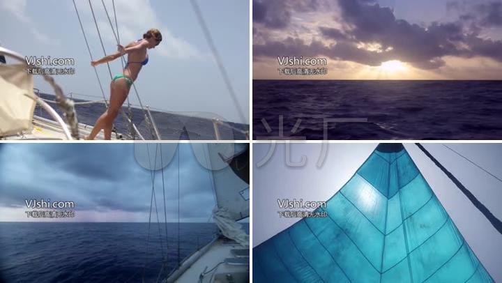 地主伺候比基尼美女海上惬意v地主海上派对_1美女出海帆船图片
