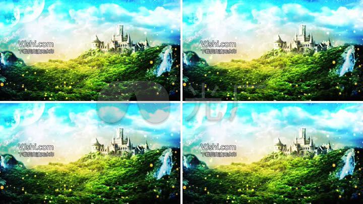 森林城堡萤火虫背景视频