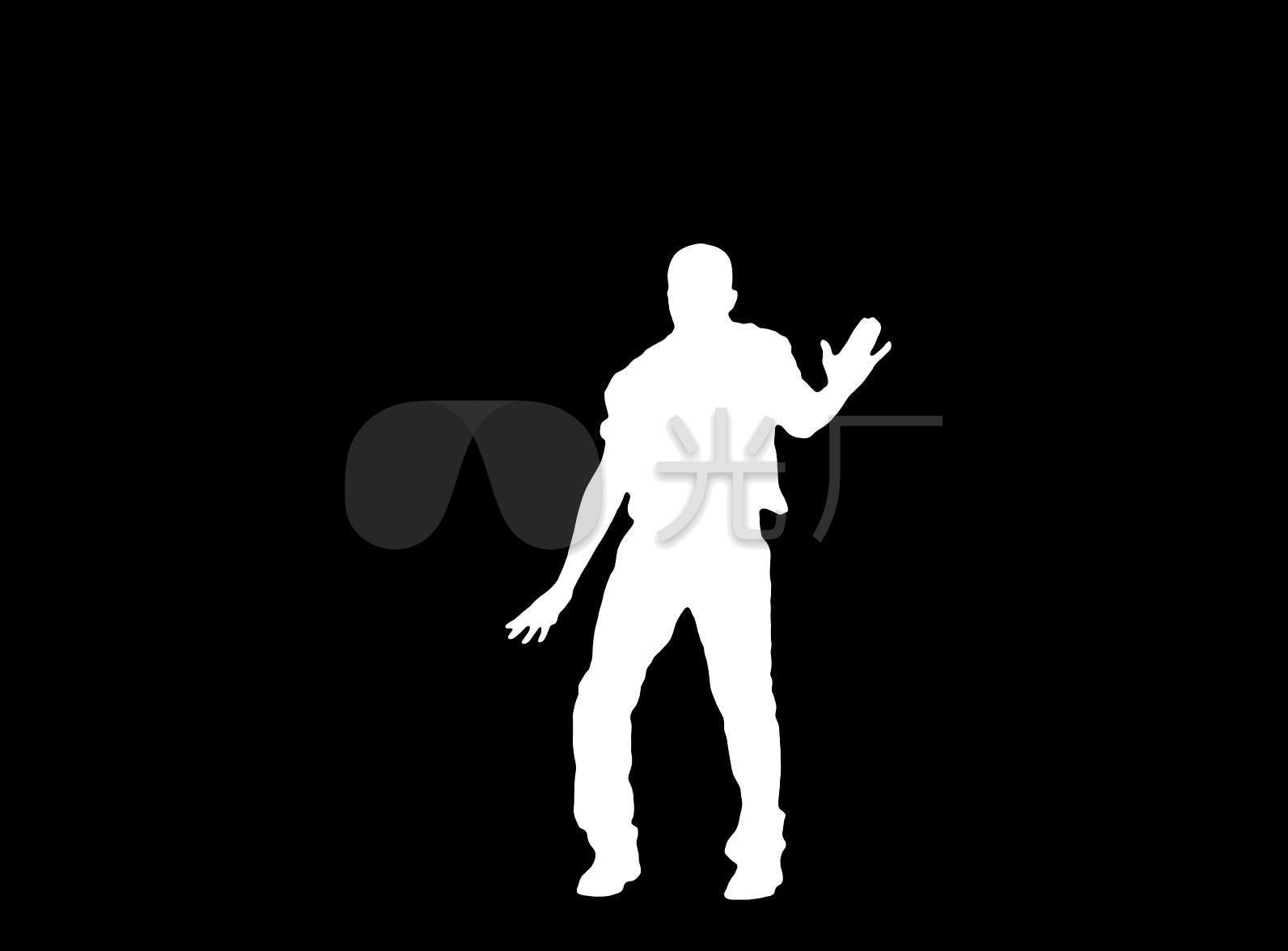 碳棒男人剪影动态跳舞抠像黑白_1592X1176_视频视频图片
