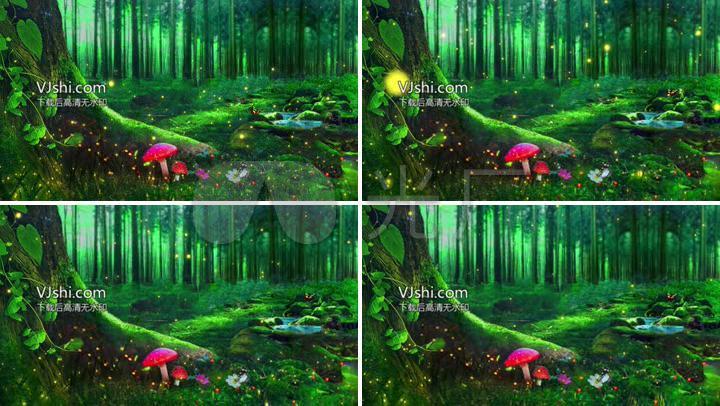 唯美绿色森林萤火虫蝴蝶蘑菇背景视频