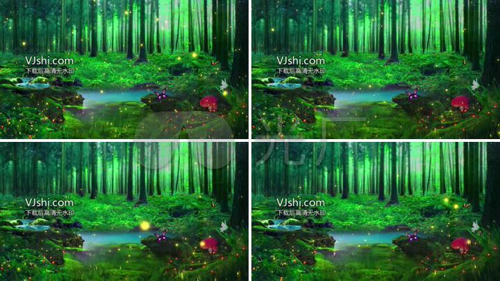 绿色唯美森林led舞台背景视频图片