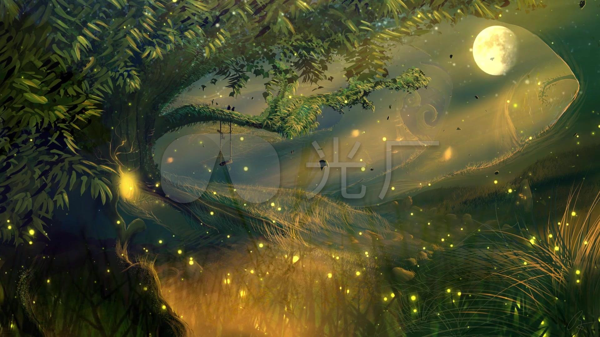 唯美绿色森林萤火虫月夜led舞台背景视频图片
