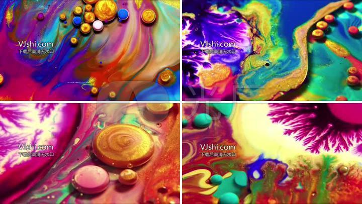 彩色颜料混合抽象艺术