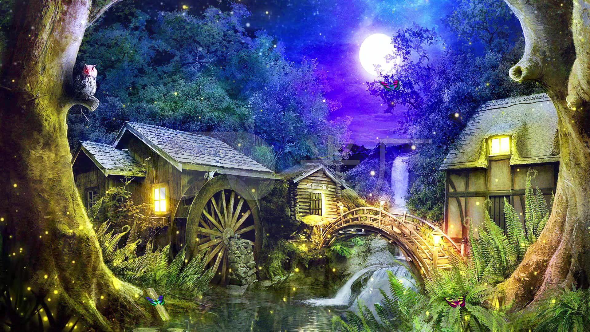 唯美森林小屋萤火虫夜色童话led背景视频图片