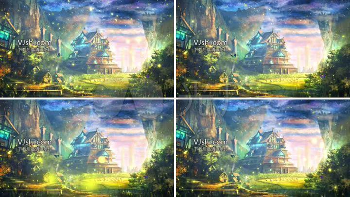森林城堡仙境星空流星雨led背景视频图片