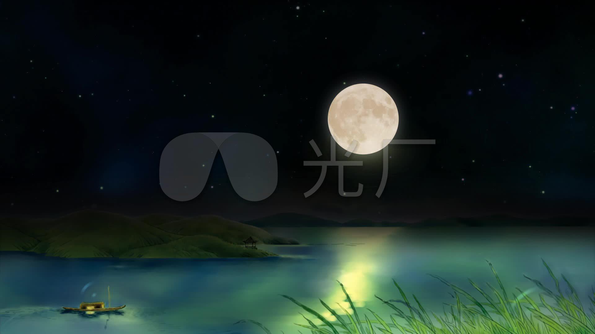 素材春江花月夜led视频视频古筝_1920X1080背景葵价金花