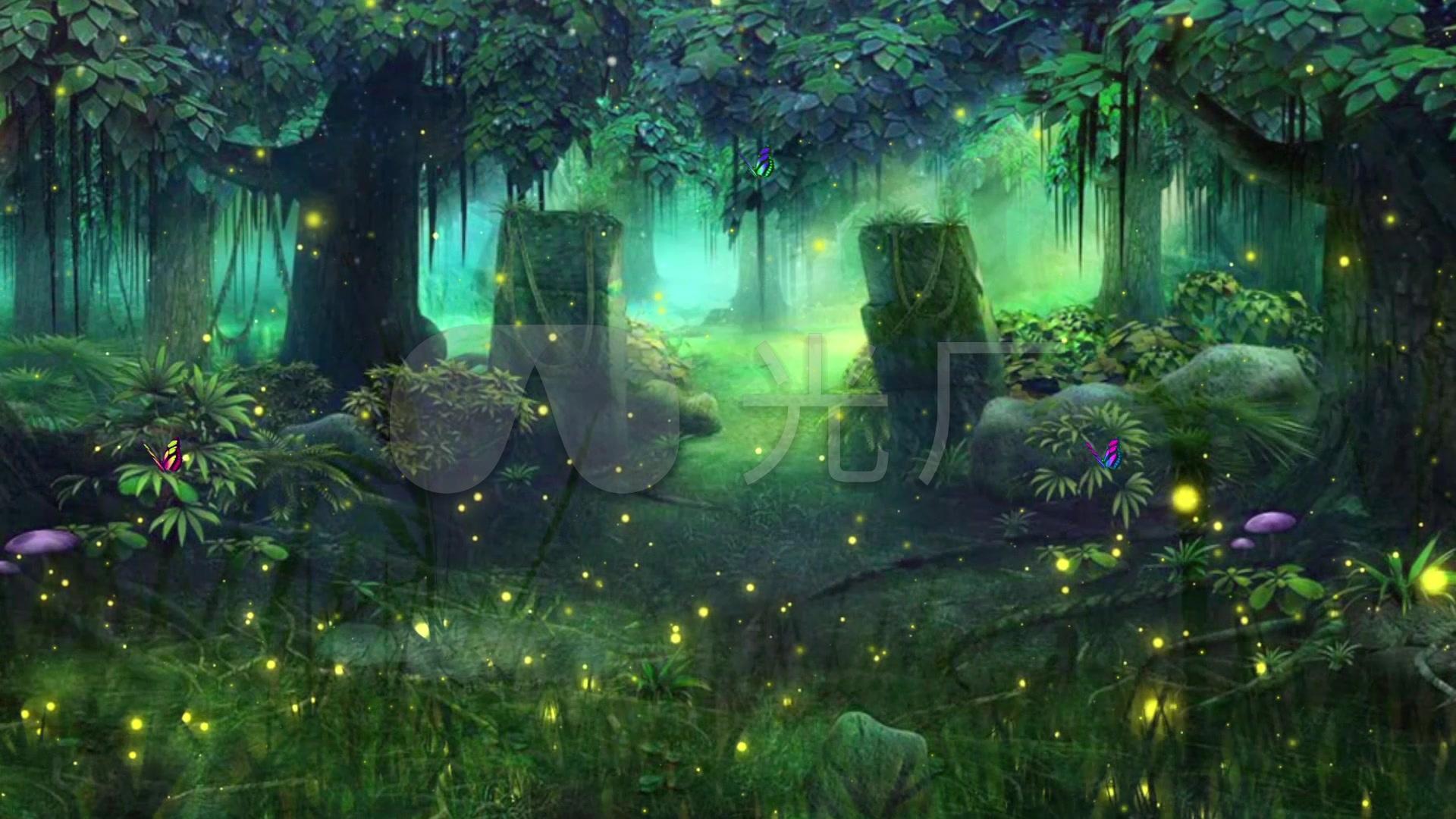 唯美绿色童话森林蝴蝶萤火虫led背景视频图片