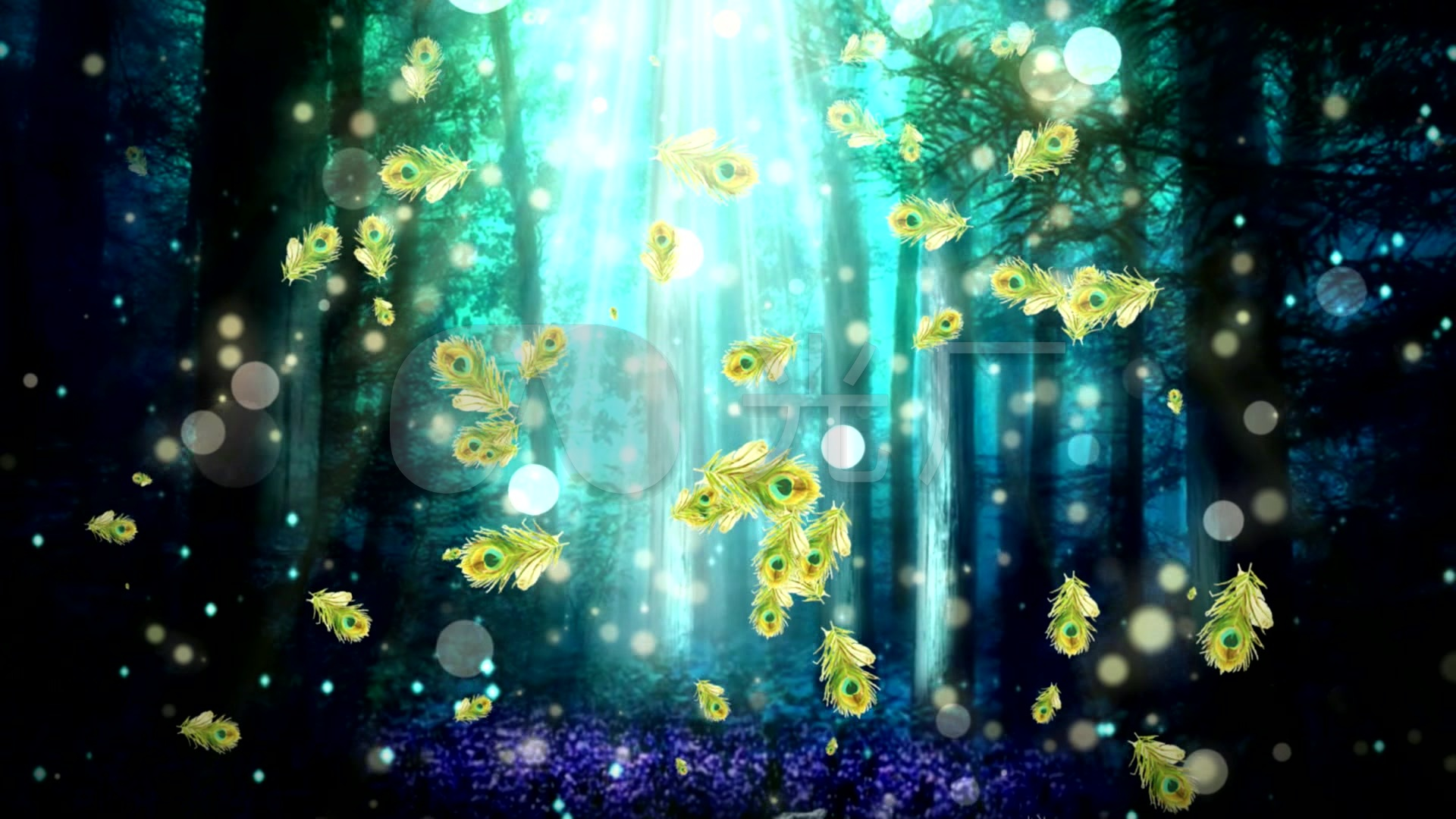 视频素材 舞台背景 场景背景 奇幻森林意境梦幻绚丽孔雀舞视频背景