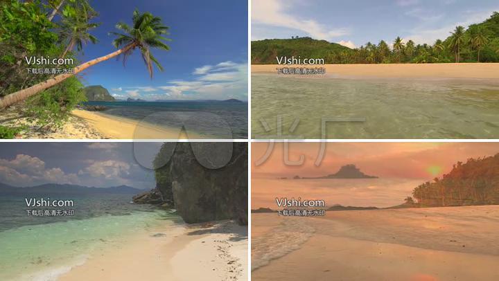航拍大海沙滩椰子树