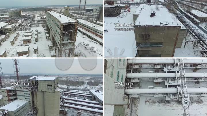 航拍雪景废弃的工厂