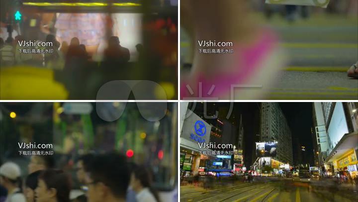 繁华城市夜景生活节奏车流人流传动