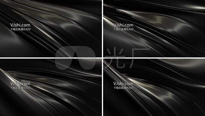 4K高清大气黑色抽象金属钢流动背景