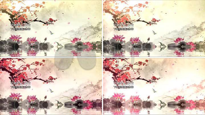 古筝琵琶语梅花中国风水墨视频